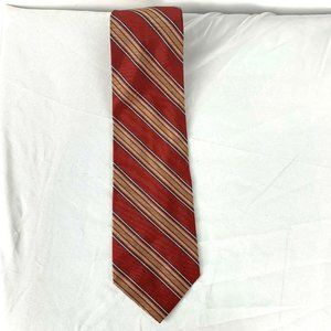 Brooks Brothers Makers Red Gold Stripe Silk Tie